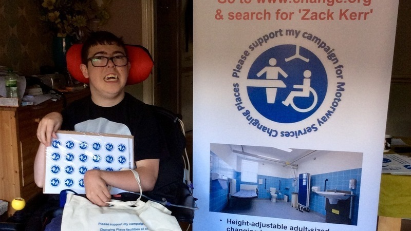 Zack's campaign for Changing Places at motorway service stations